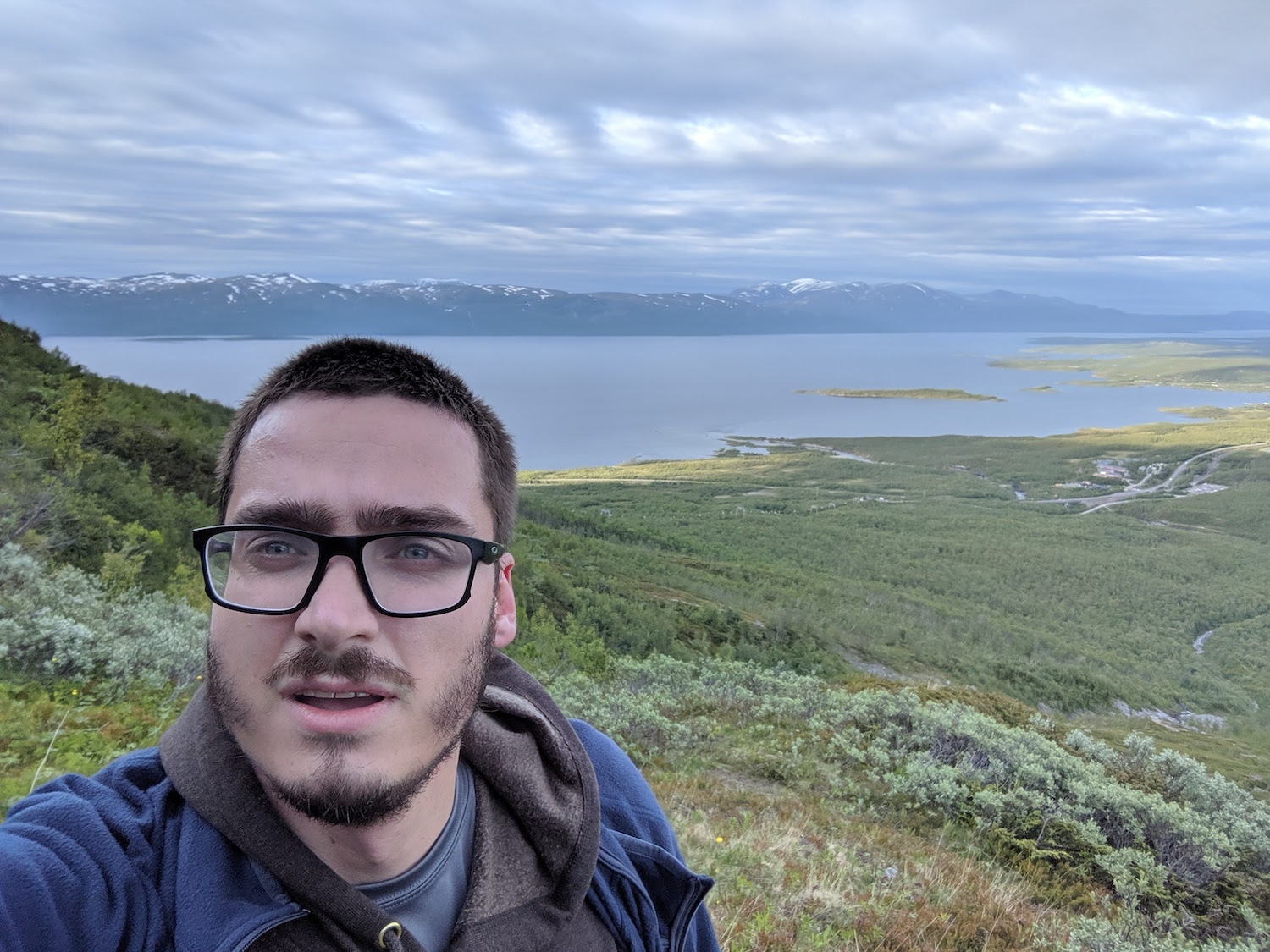 GSO teaching fellow Max Barczok hiking in Sweden