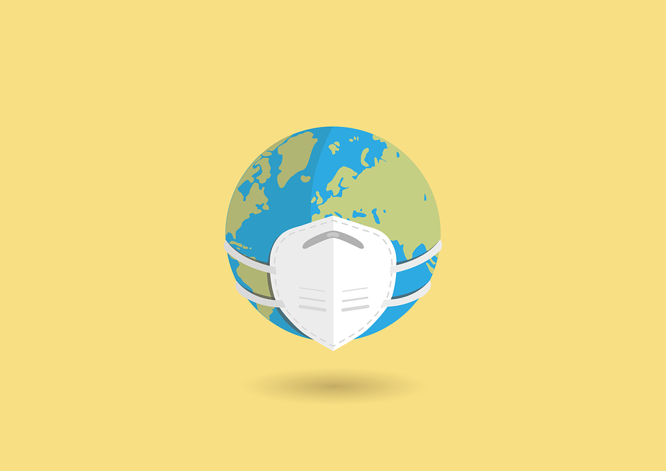 A graphic of Earth wearing a mask on a yellow background