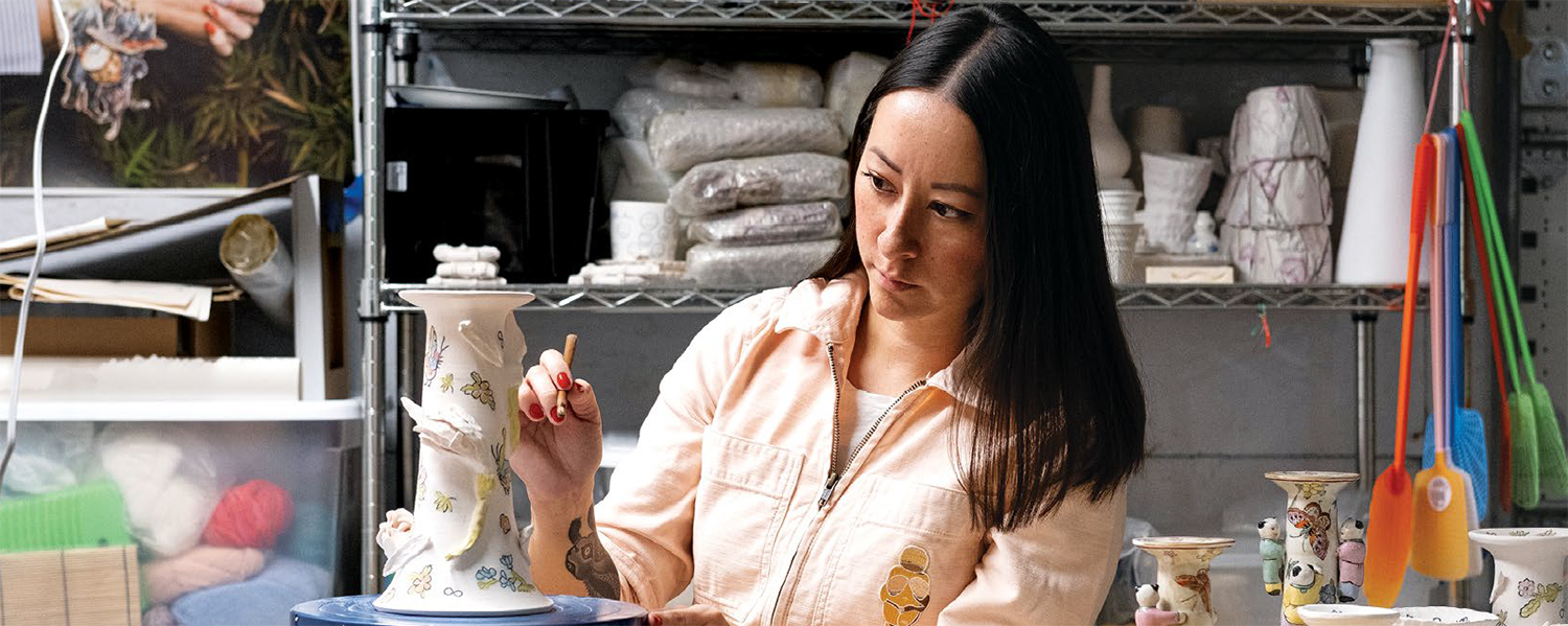Jennifer Ling Datchuk working in her garage ceramics studio in San Antonio. Photo by Clint Datchuk.