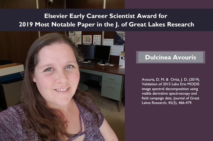 Elsevier Early Career Scientist Award for 2019 Most Notable Paper in the J. of Great Lakes Research. Dulcinea Avouris