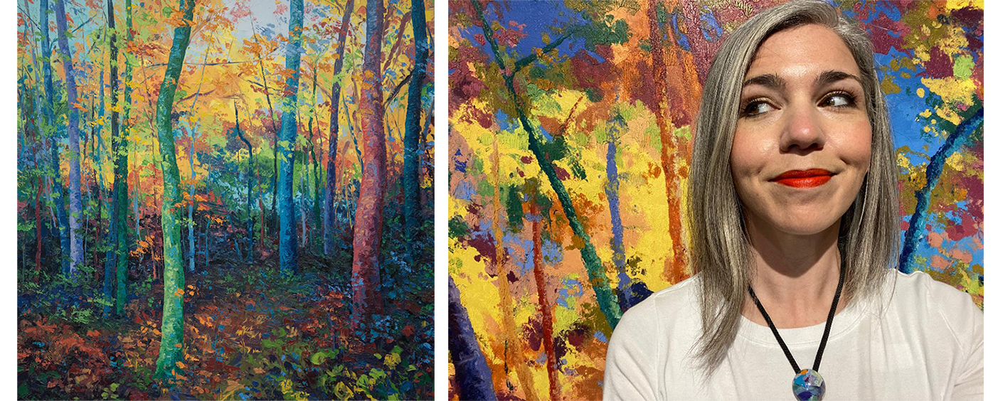 Colorful landscape paintings by Eileen Dorsey and a photo of the artist in front of her work.