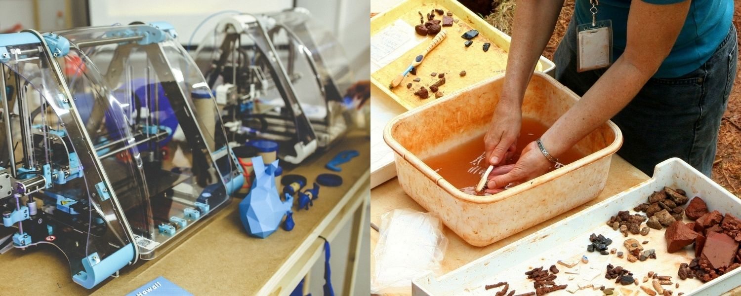 At left: image of a 3D printer by Karolina Grabowska from Pixabay At right: an image of excavation by JamesDeMers from Pixabay