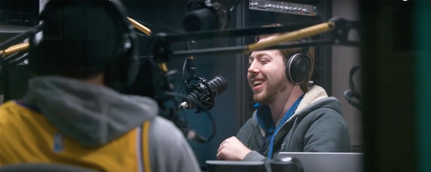 Kent State student Sean Fitzgerald co-hosting a sports radio show