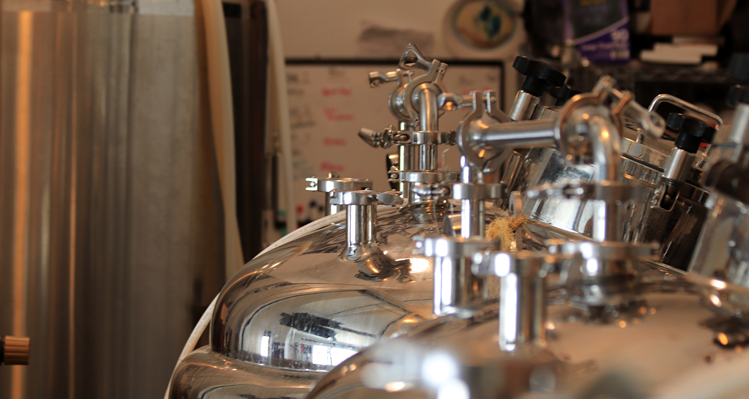 Craft brewing vats at Cloven Hoof Brewery in Ashtabula, Ohio