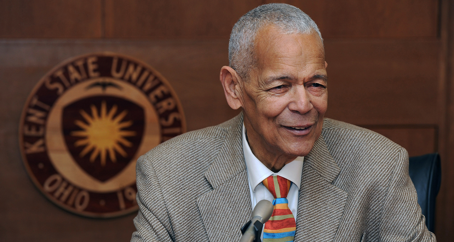 Civil rights leader Julian Bond answers a question from the media following his keynote address at Kent State's 13th annual Martin Luther King Jr. Celebration.