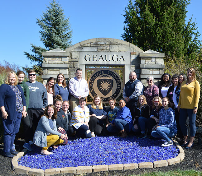 Staff and students at Geauga Campus sign