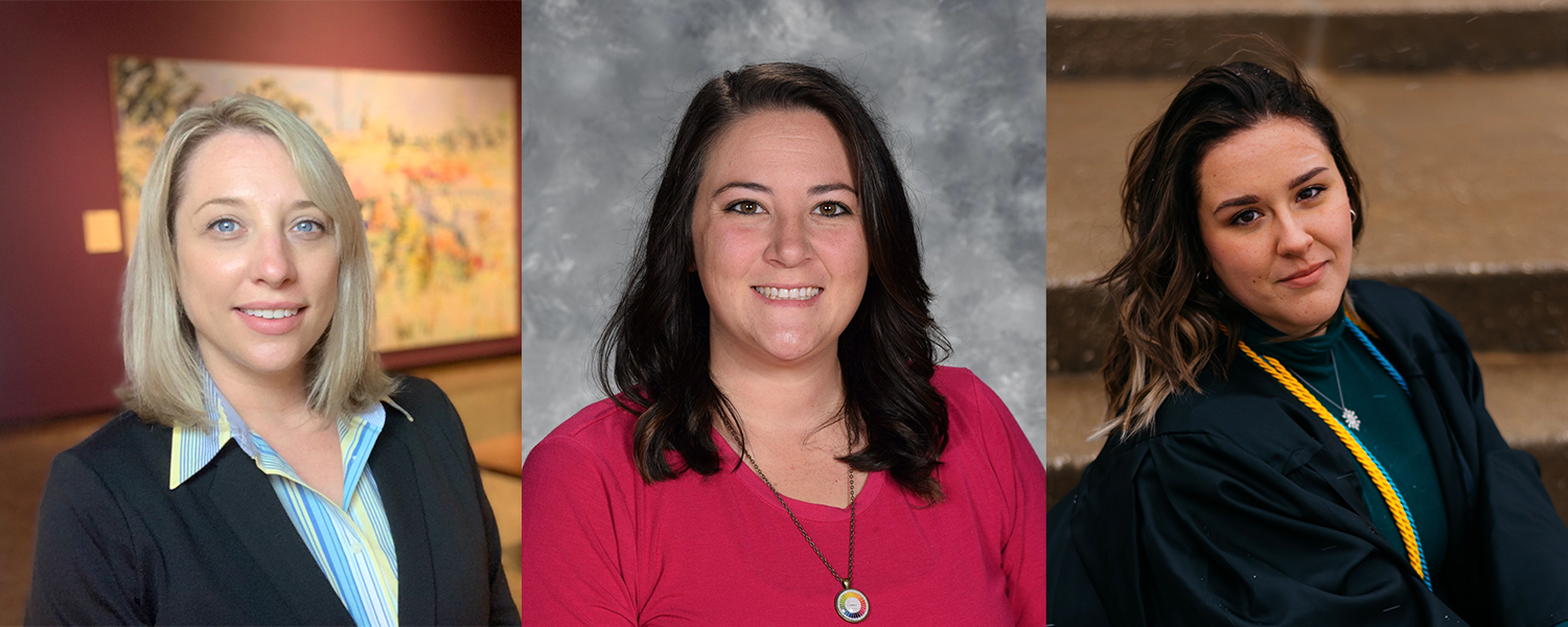 Three women pictured who were awarded OAEA awards in 2021 - Erica Emerson, Carly Sherman and Erin Kraly.