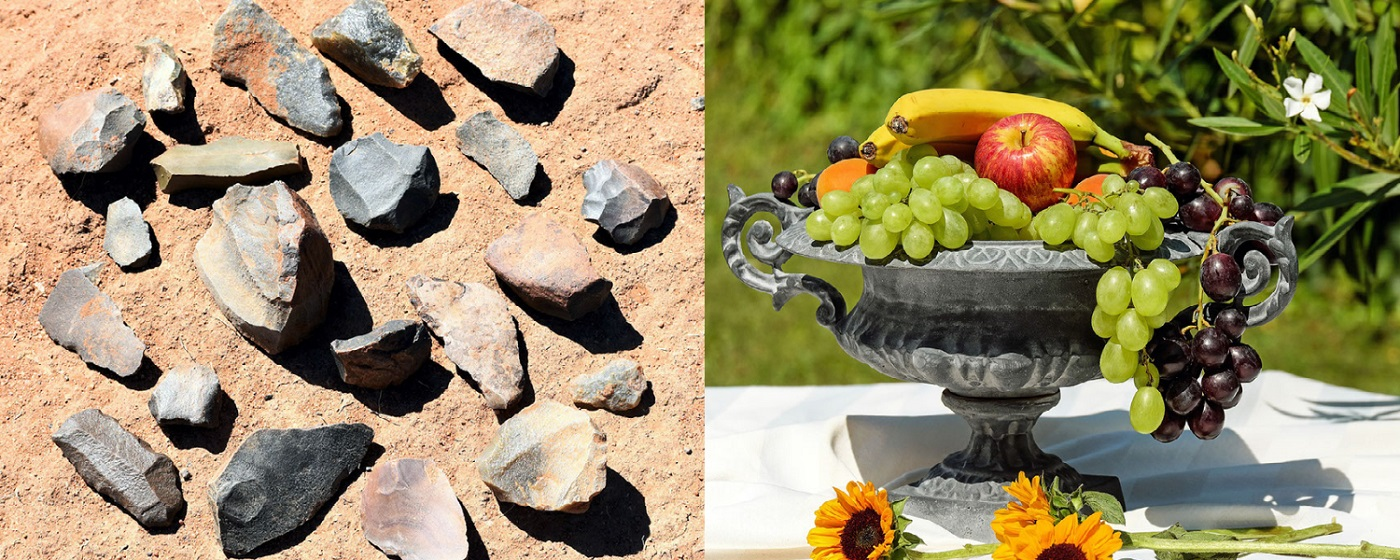 Left image of stone tools by Peter Holmes from Pixabay and right image of a bowl of fruit from Couleur on Pixabay