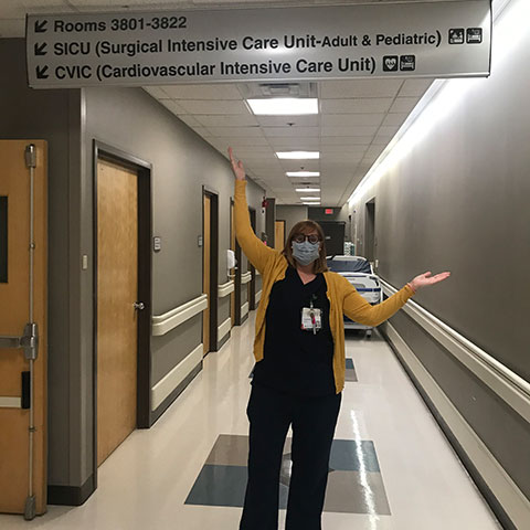 RN Sarah Pierce-Brown, a member of the nursing faculty at Kent State Salem, at work at St. Elizabeth Hospital in Youngstown.