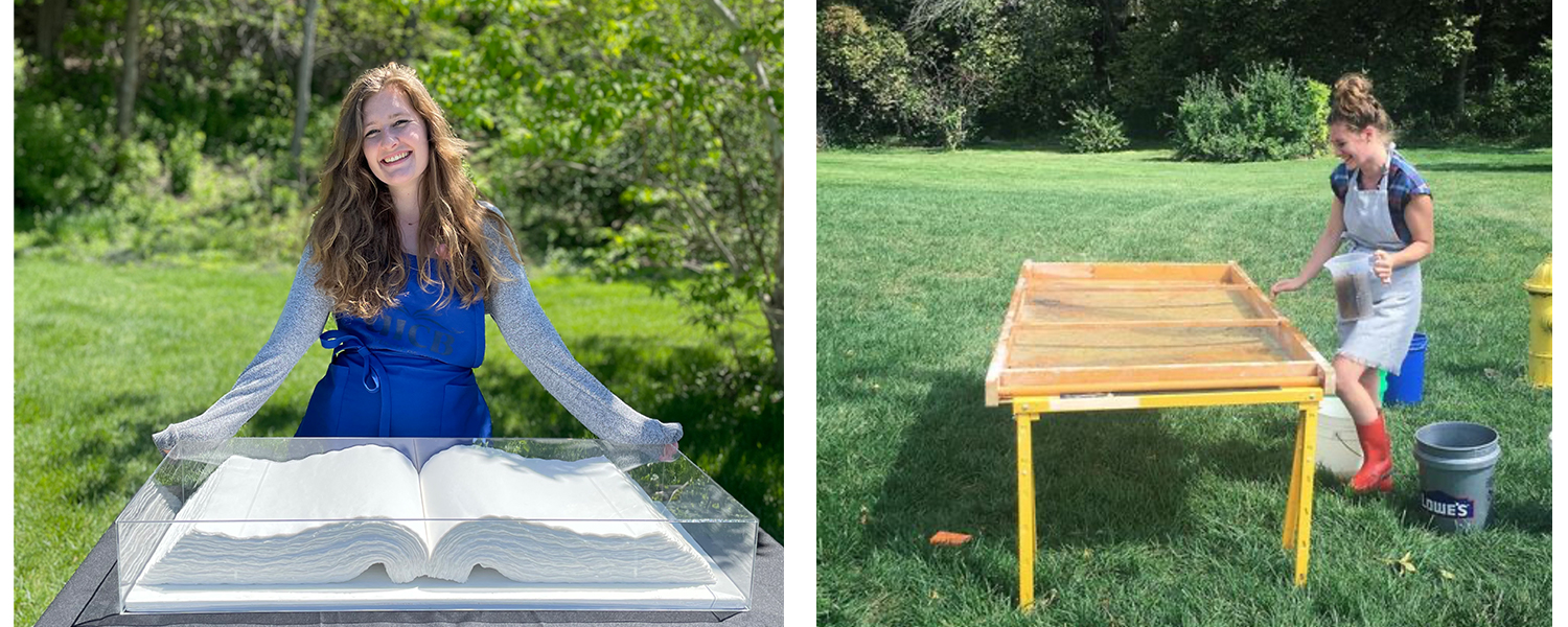 Sarah Schlosser with her work - a large book. A second photo is of her making handmade paper outdoors.