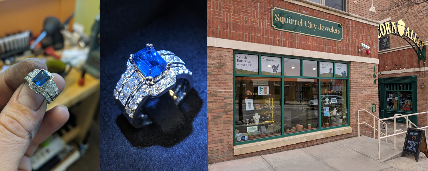 The storefront of Squirrel City Jewelers in downtown Kent and an example of a ring made by the owner with a blue sapphire and diamonds.