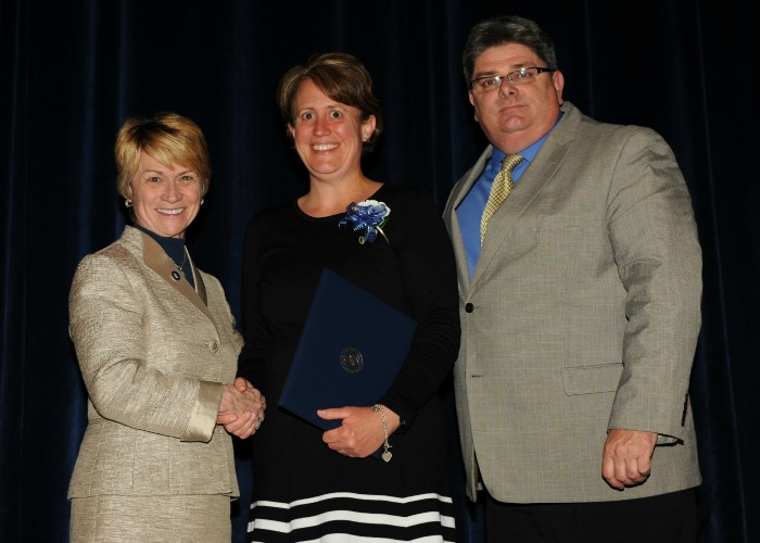 Anissa Strickland with President Warren and Vice President Jarvie