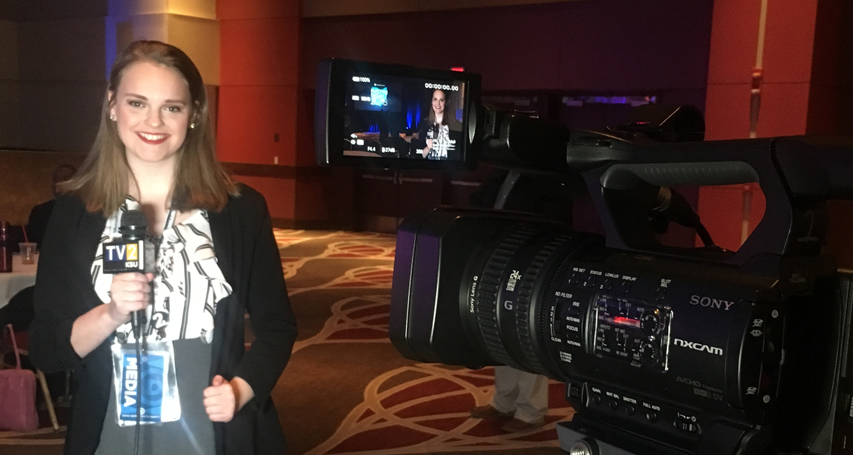 Senior Journalism Major Anna Huntsman reports for TV2 news