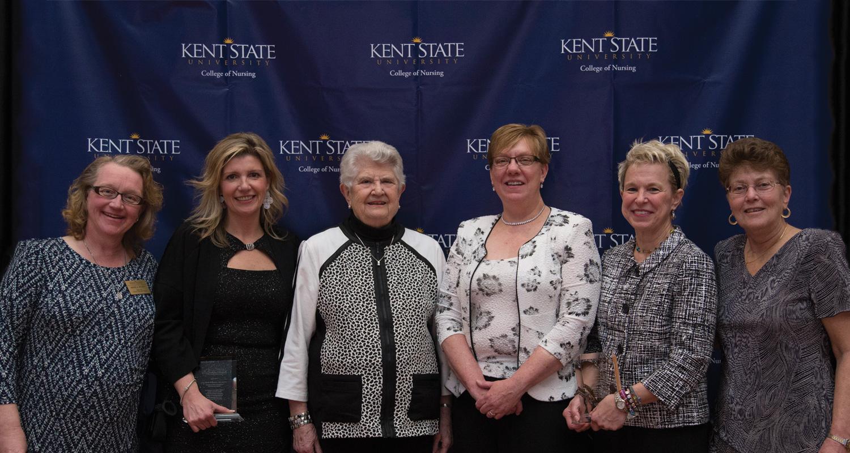 KSU faculty and recipients of the Donaho Award with Barbara Donaho