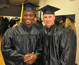 Best friends, Troy Chisom and Nathan Schonhut celebrate graduating together