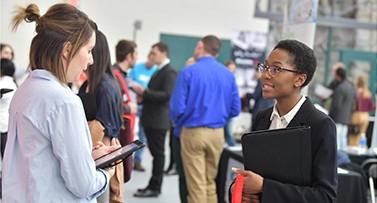 A student at a career fair