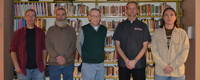 Local performers Doug and Dave Smith, Bob Walker, Bill Crawford and Bernie Schmidbauer