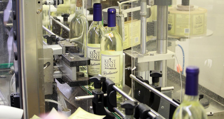 Kent State Ashtabula Wines Radiance on bottling line
