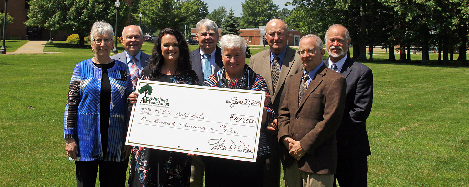 Ashtabula Campus Dean Susan Stocker and members of the Ashtabula Foundation