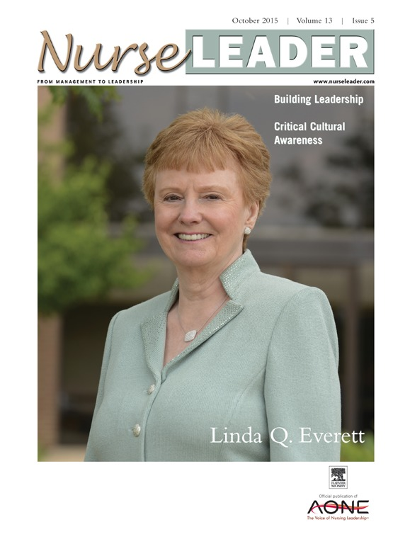 Linda Q. Everett stands in front of Henderson Hall at Kent State University on the cover of the October, 2015, edition of Nurse Leader magazine.
