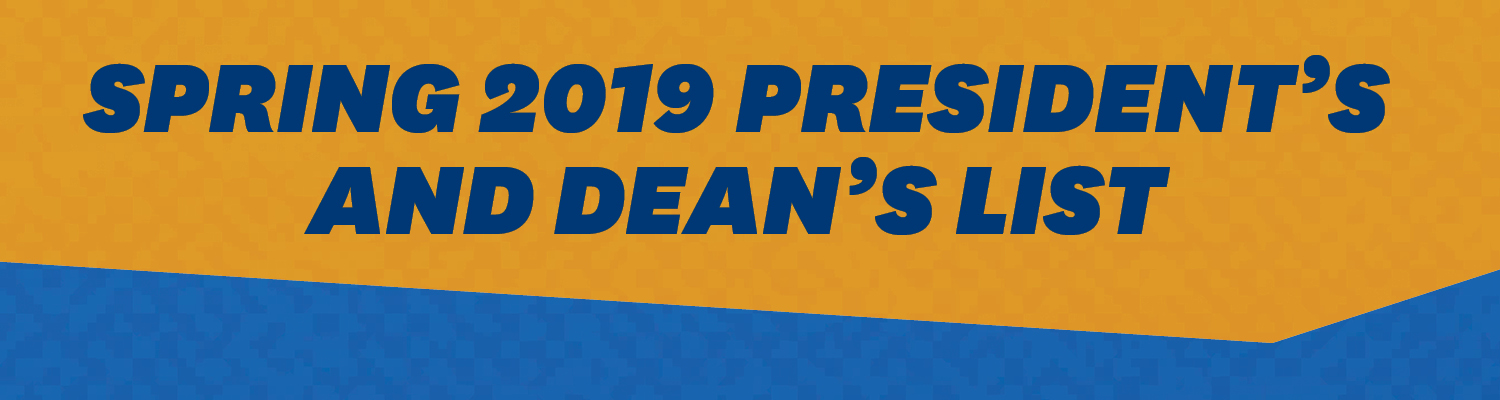 Spring 2019 President's and Dean's list in Text