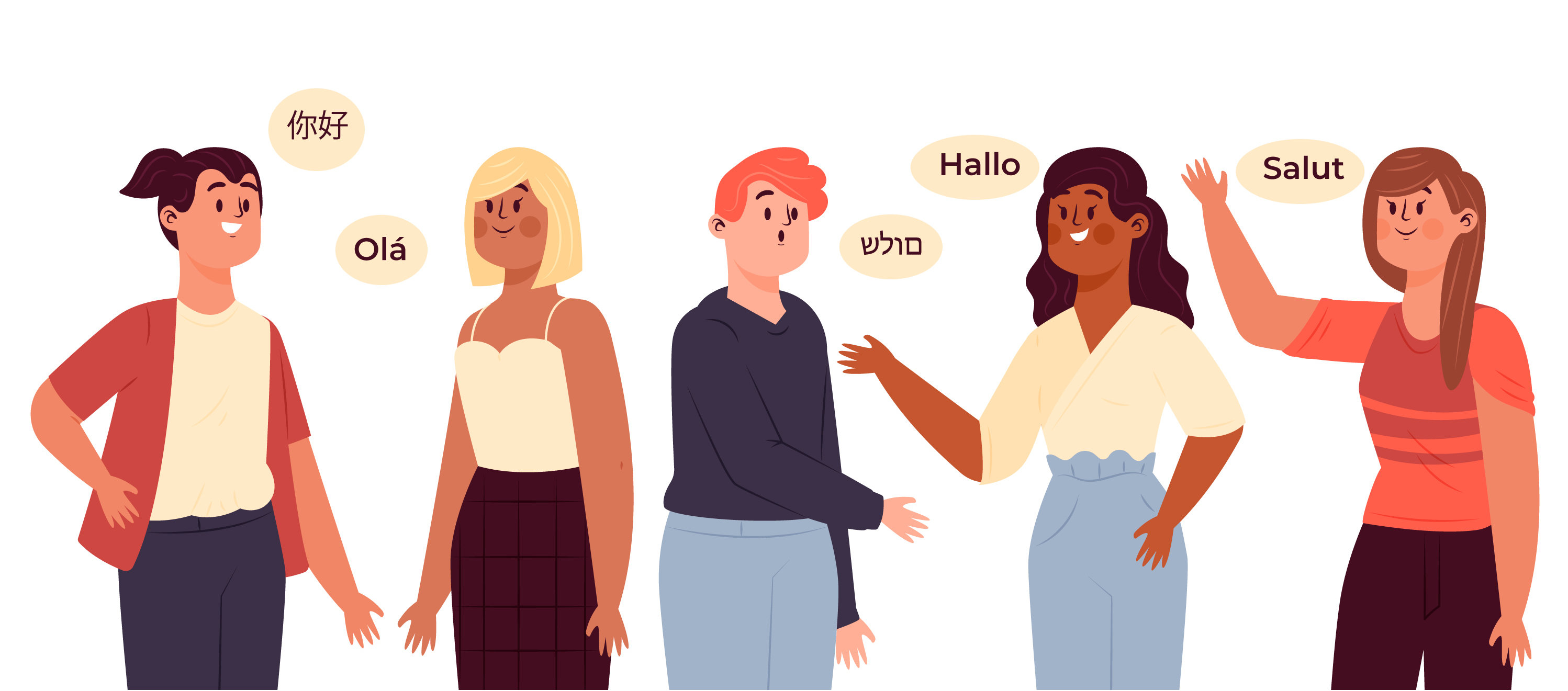 Picture of people saying hi in different language