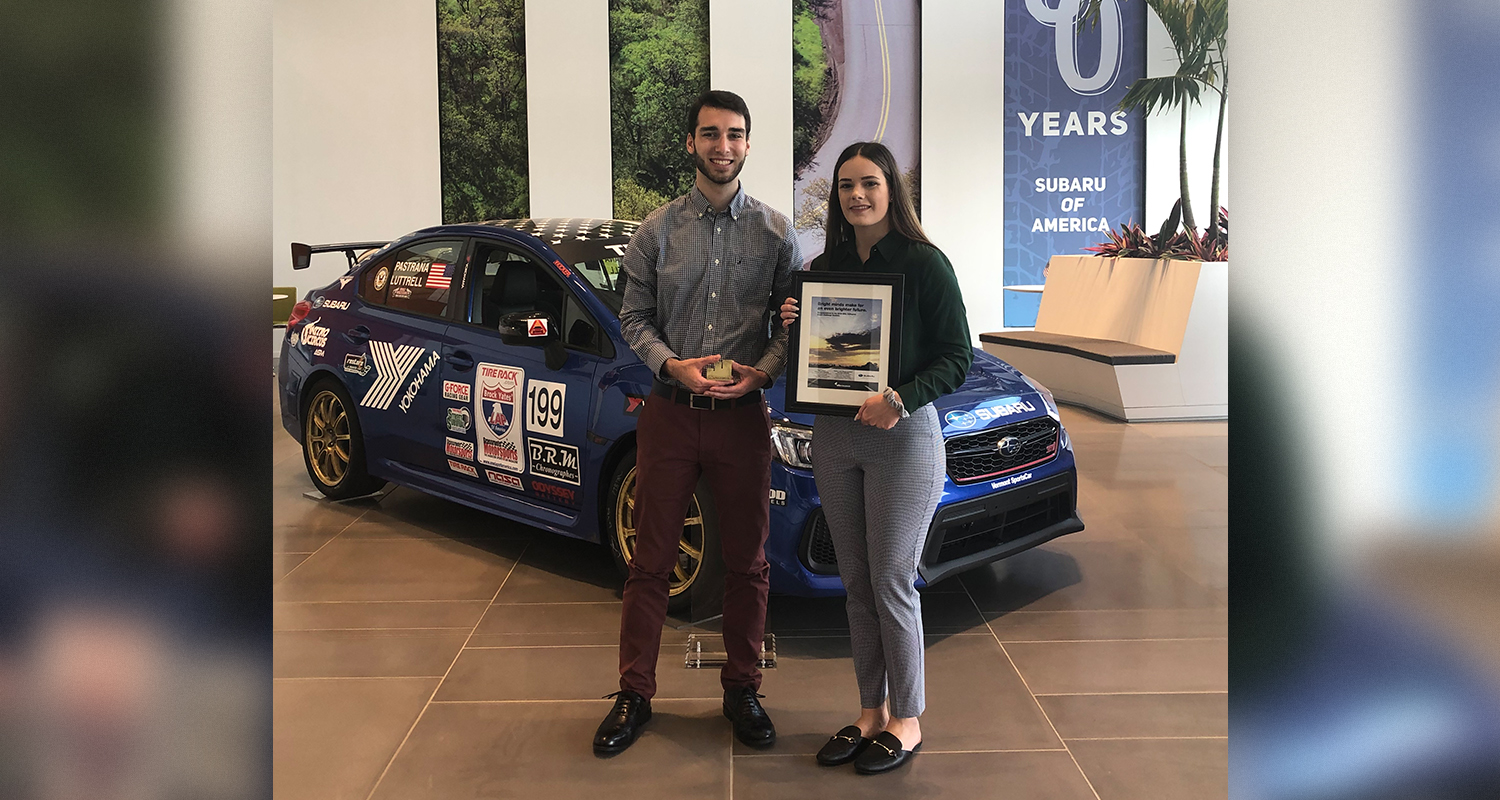 Kent State students Noah Lewchenko and Ashley Heilman presented an integrated marketing campaign at Subaru's headquarters and took second place in the national Effie Collegiate competition.