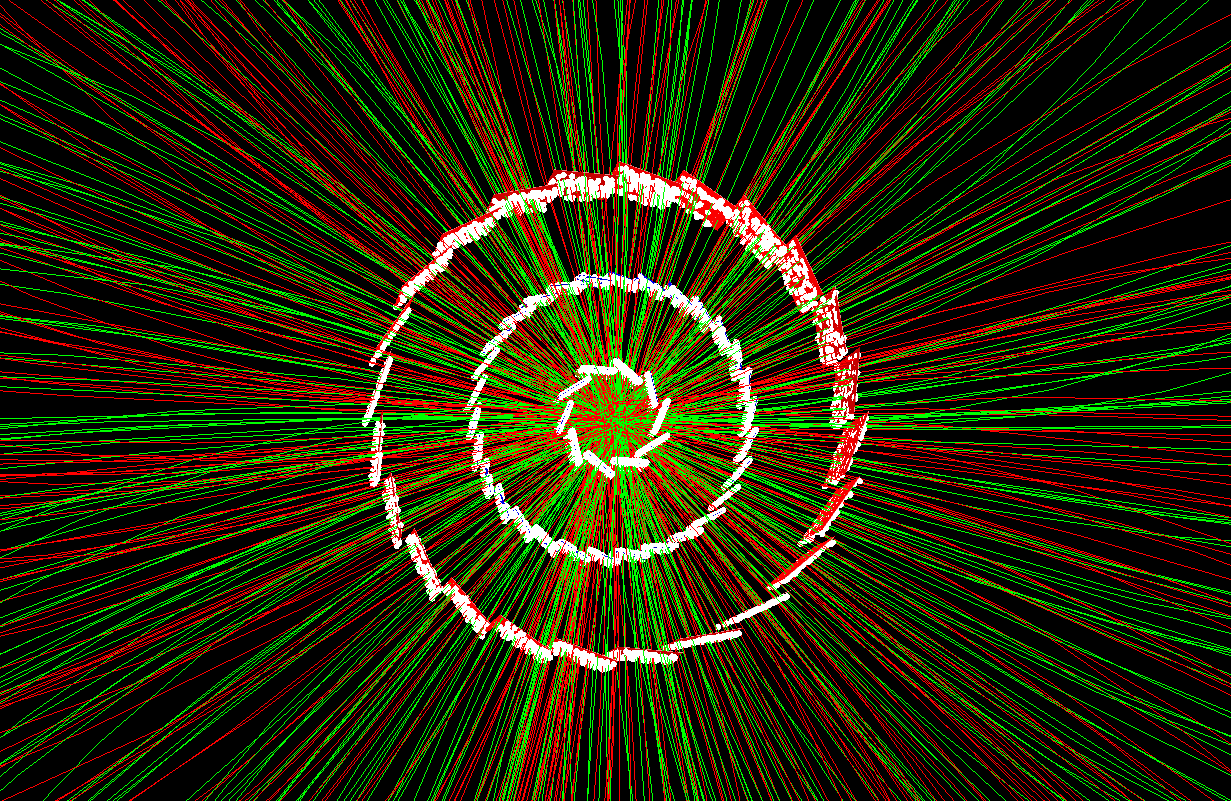 A gold–gold collision recorded by the Heavy Flavor Tracker (HFT) component of the STAR detector at the Relativistic Heavy Ion Collider (RHIC). (Image courtesy of STAR Collaboration)