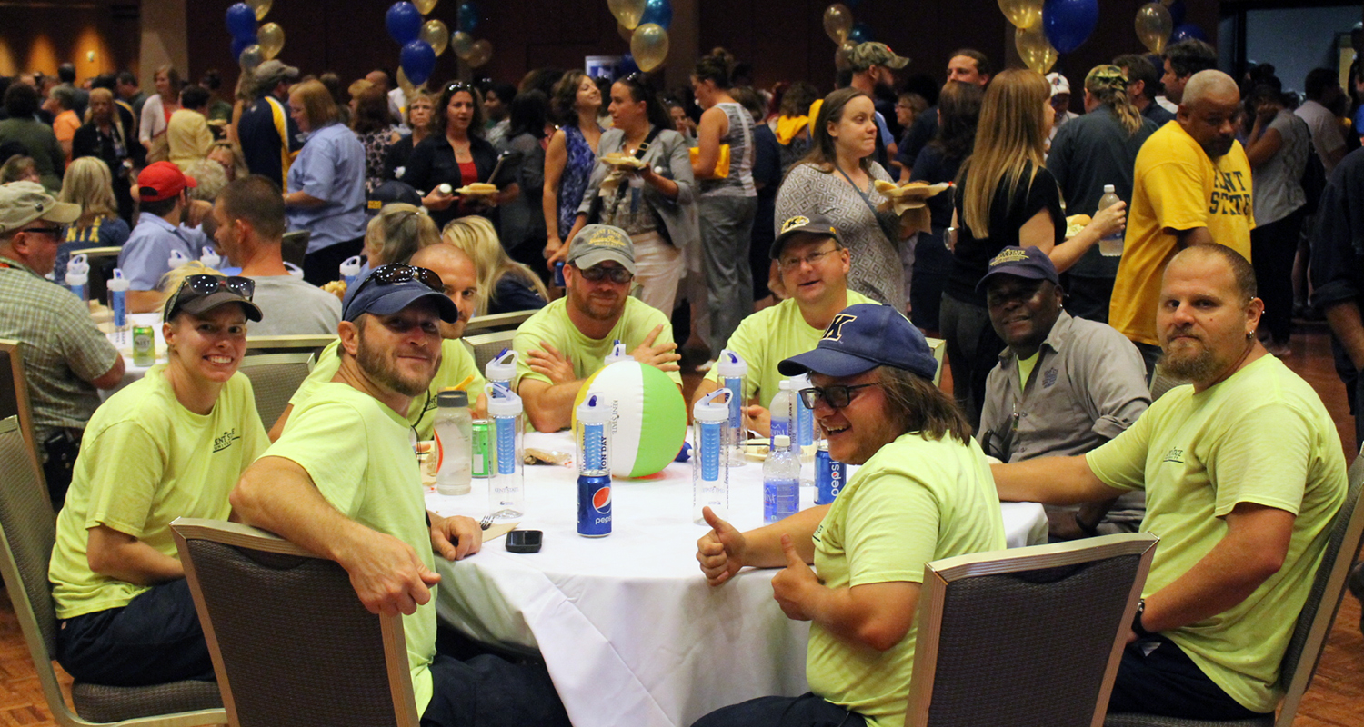 Kent State University employees smile for the camera during the annual Employee Appreciation Day event.