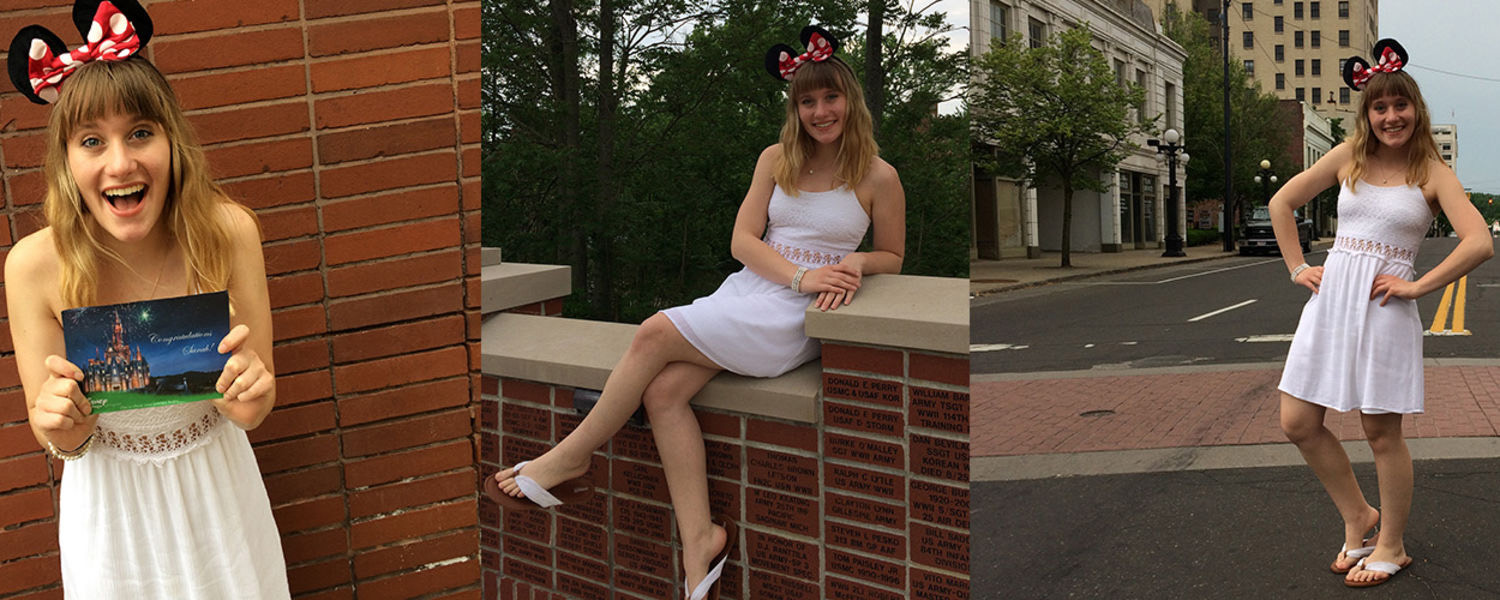 Kent State University at Trumbull student Sarah Heavner will play the role of a costumed character during her internship at Disney World this fall. Ms. Heavner is a communication studies major and minoring in theatre.