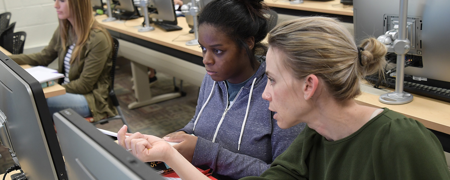 English Lecturer Molly Mokros Natale works with a student during class. Ms. Natale and Jeanne Marie Stumpf-Carome, Ph.D., (not pictured) are collaborating on an interdisciplinary course to explore the construction of self through tourism.