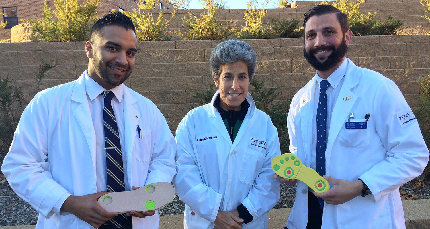 Kent State University students Nilin Rao and Craig Verdin, and Exercise Science and Physiology Professor Ellen Glickman, Ph.D., have invented an insole to help people with ulcerations on their feet.