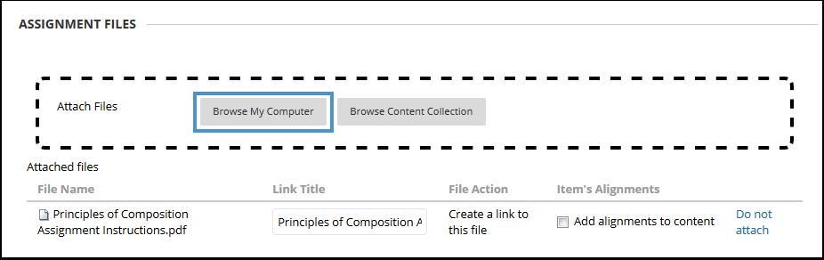 Assignment file attachment