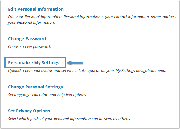 Personalize My Settings link