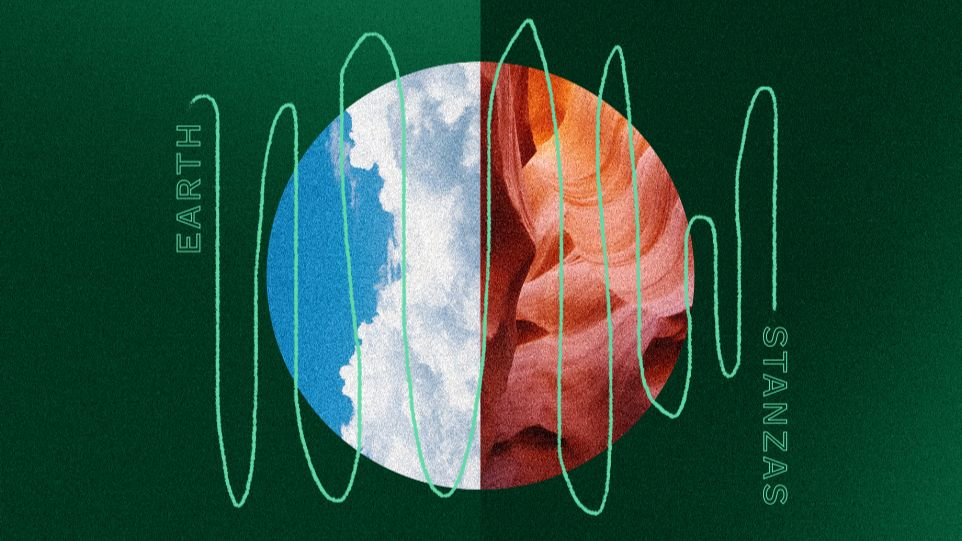 Green background with a circle in the center. A vertical line dissects the center of the circle and the left semicircle has a partly cloudy blue sky and the right half has red, orange, and white waves. Overlaying the circle is a light green squiggly line