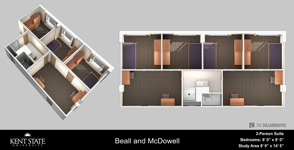 View the Beall and McDowell 2-person suite room diagram in high resolution