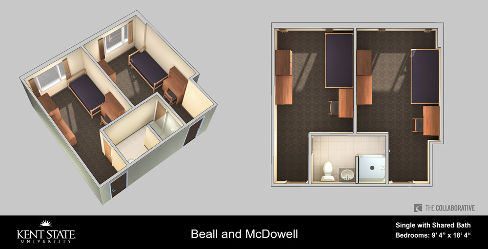 View the Beall and McDowell Single with shared bath room diagram in high resolution