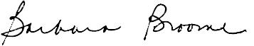 Dean Barbara Broome signature