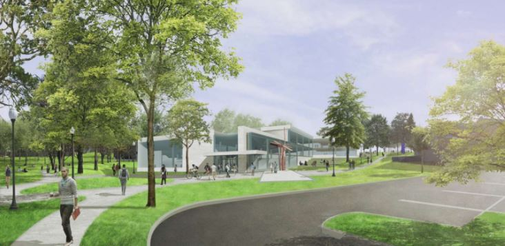 Rendering of proposed campus building, parking and walkways