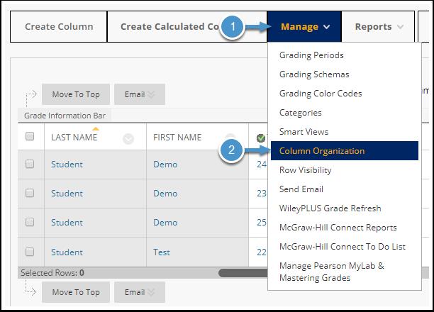 Manage menu expanded