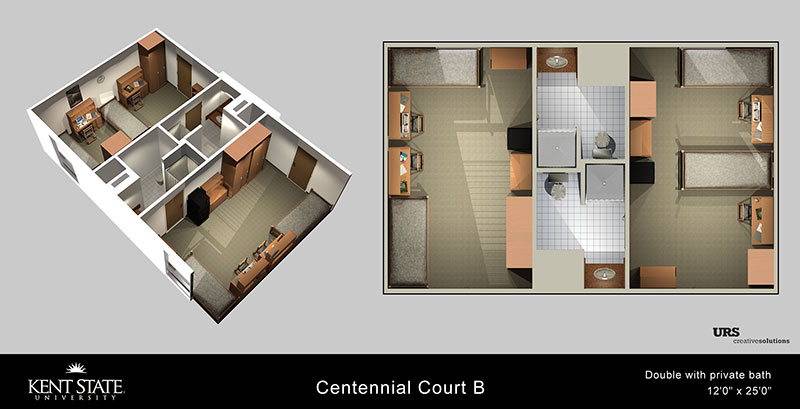 View the Centennial Court B Double with private bath diagram in high resolution