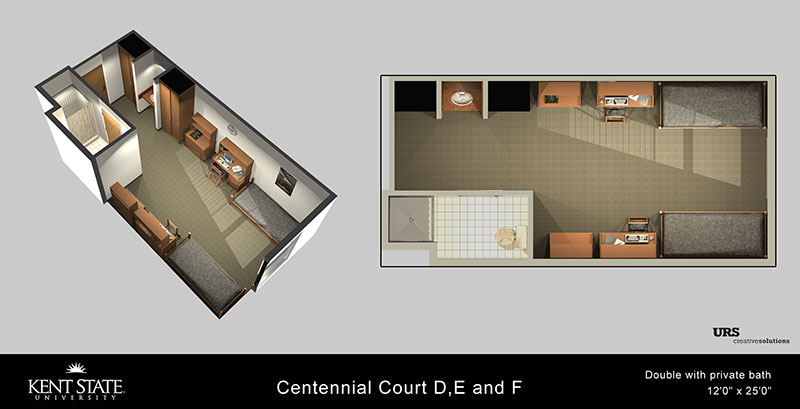 View the Centennial Court D, E, and F Double with private bath diagram in high resolution