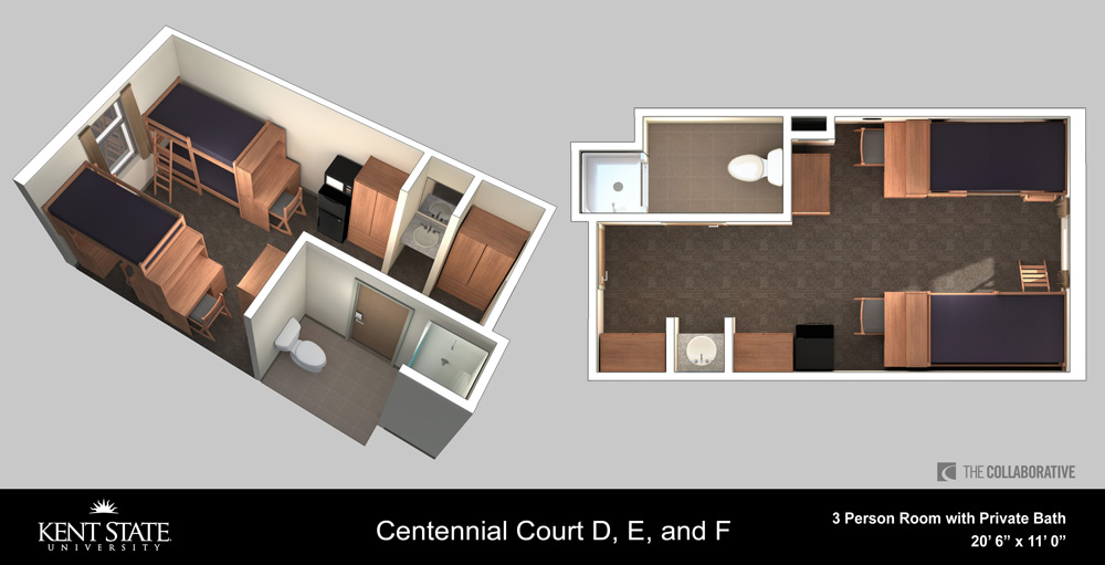 View the Centennial Court D, E, and F 3-person room with private bath diagram in high resolution