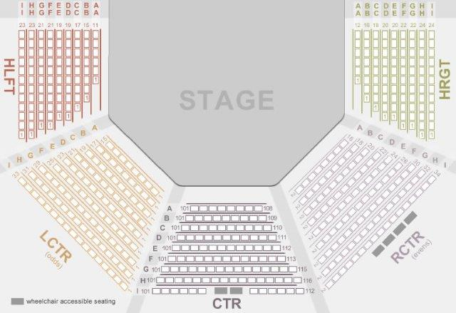 Porthouse Theatre has three different seating types. The Gold Center (CTR) section faces the stage directly and contains the best seats in the house. The Reserved Left and Right Center (LCTR and RCTR) sections are excellent seating options and face the stage at a slight angle. The House Right and House Left (HRGT and HLFT) sections face the side of the stage.