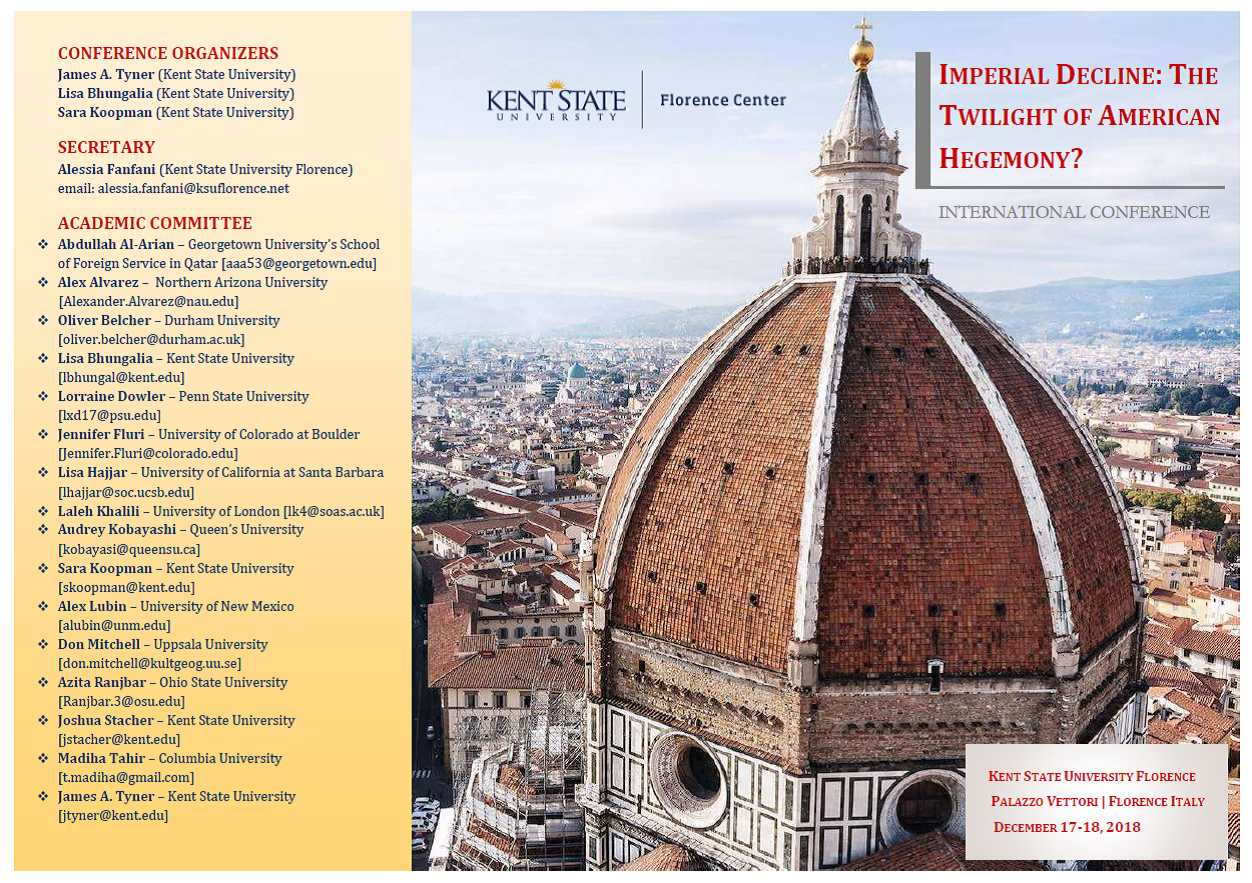 The Florence dome with a list of the conference's speakers along the left side