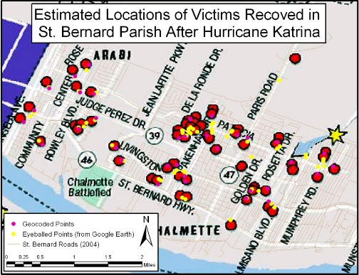 Estimated Locations of Victims Recoved in St. Bernard Parish After Hurricane Katrina