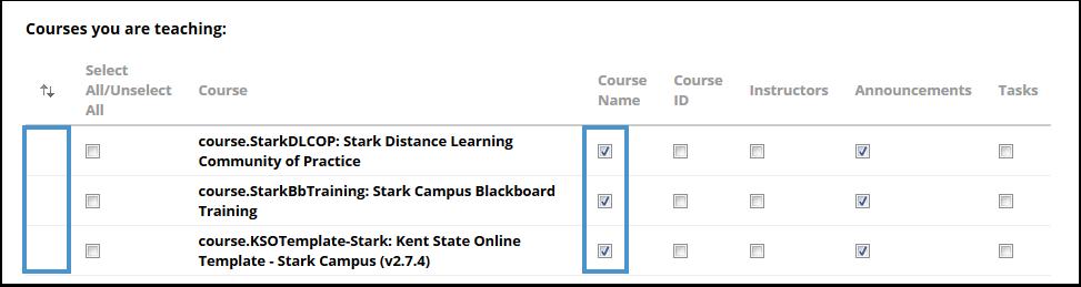 Edit course list page