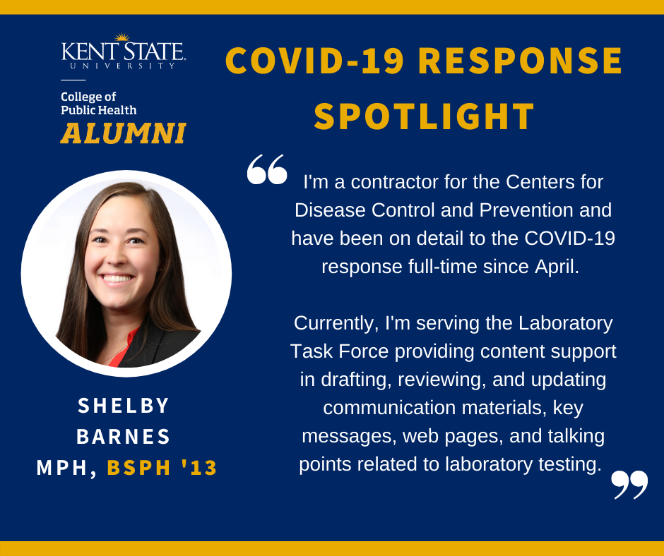 COVID-19 Response Spotlight from Shelby Barnes, currently a contractor for the Centers for Disease Control and Prevention.
