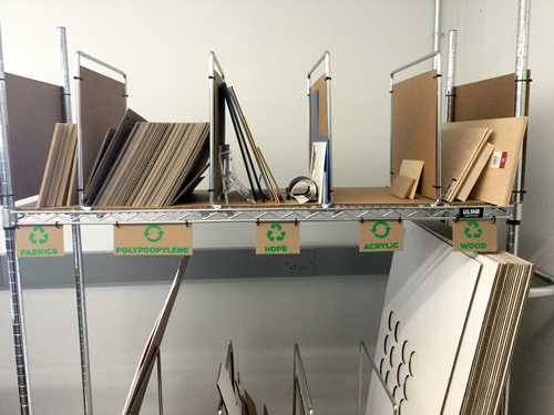 Shelves with Recyclable Items