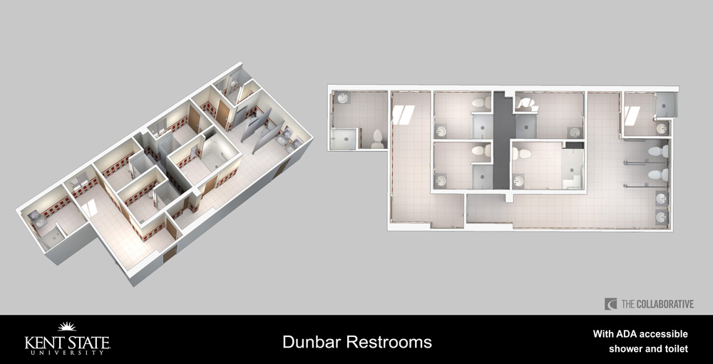 Diagram of Dunbar restrooms with ADA accessible shower and toilet